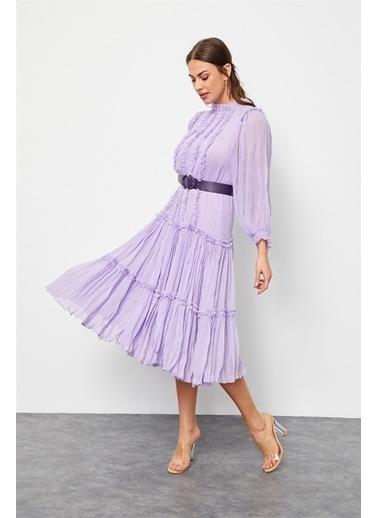 Setre Lila Kemerli Fırfır Detaylı Elbise Lila